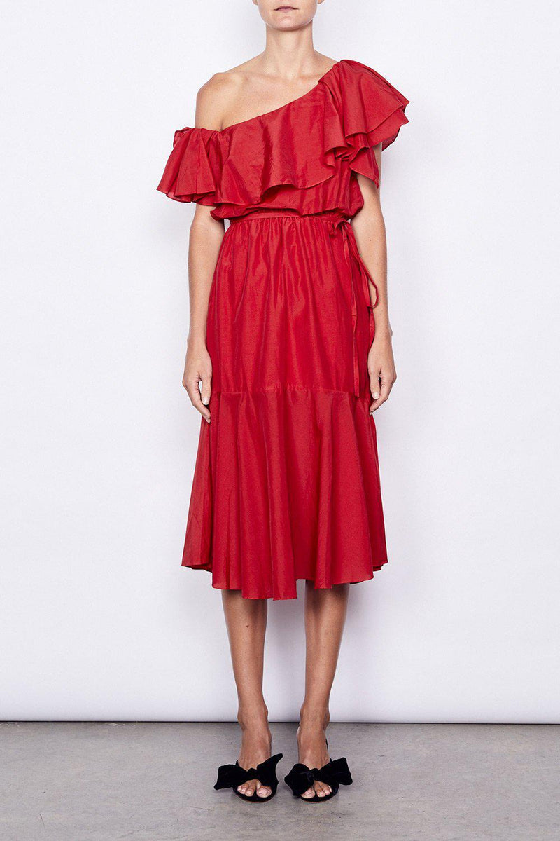 One Shoulder Ruffle Midi Dress - BlubellaFashion