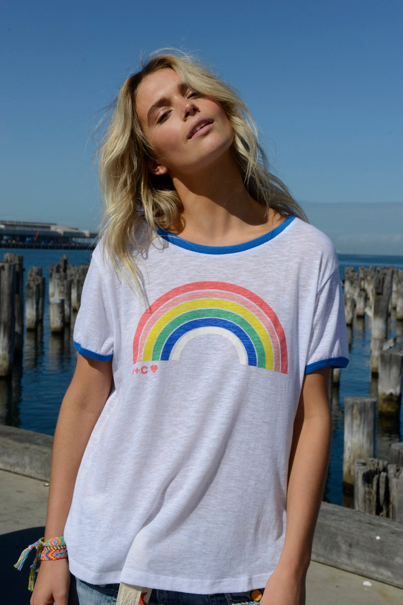 Rainbow Ringer Tee - BlubellaFashion