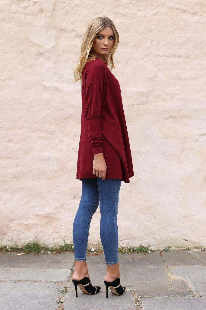 Taylor Knit - Wine - BlubellaFashion