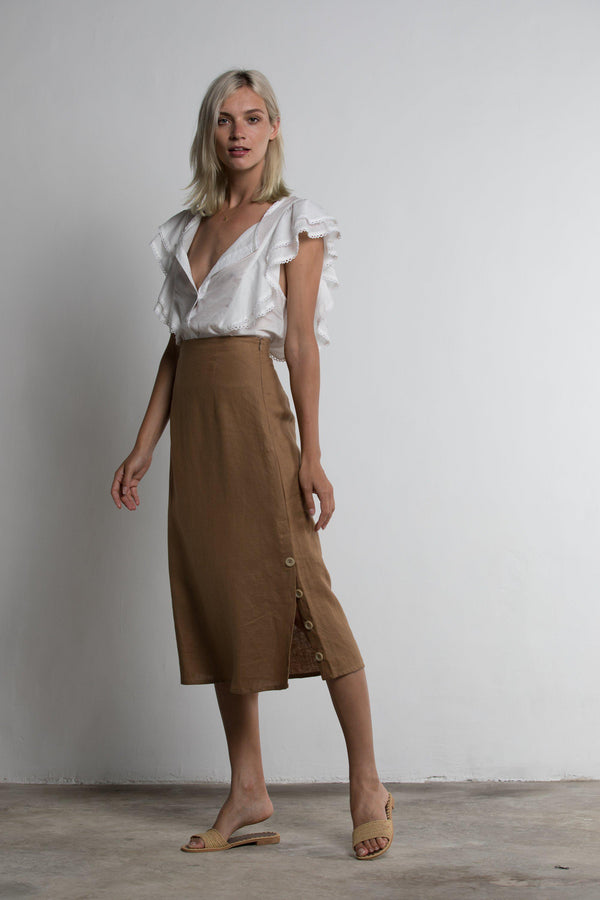 Windsor Skirt - Brown - BlubellaFashion