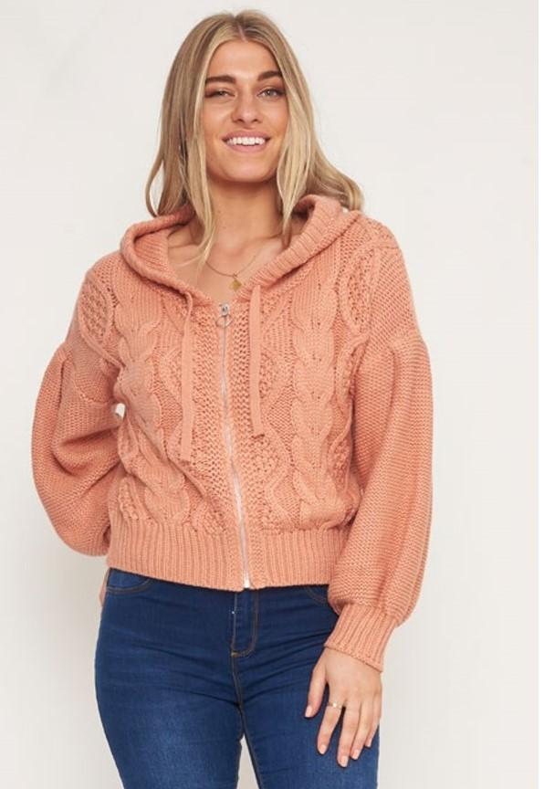 Zip Hoodie Cable Knit - BlubellaFashion