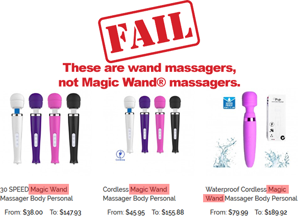 Screenshot of an online retailers product page showing where they name their no name wand massagers as 'Magic Wand®' massagers.