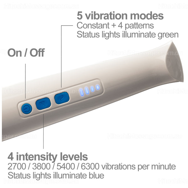 Hitachi Magic Wand Rechargeable HV-270. Closeup picture of the control buttons and status indicator lights.