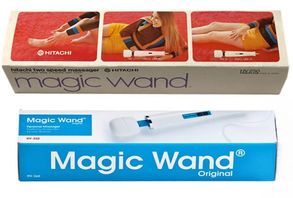Hitachi Magic Wand product packaging pictured side by side. 1970's and 2000's.
