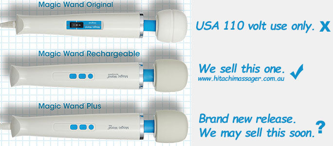 Product picture of the authentic Hitachi Magic Wand Original, Magic Wand Rechargeable, and Magic Wand Plus massagers together.