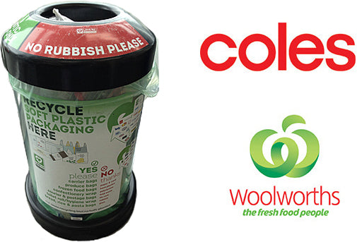 A picture of a Red Cycle plastic bag recycling bin against a white background with a Coles and Woolworths logo.