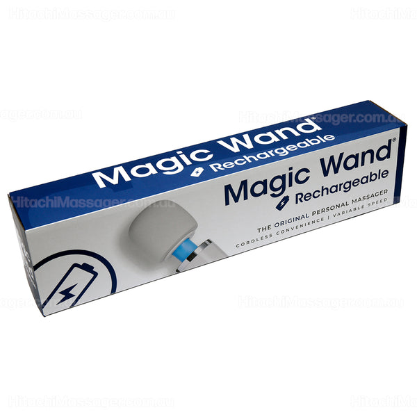 Full length horizontal product picture on a white background of the Hitachi Magic Wand Rechargeable personal massager carton and product packaging.