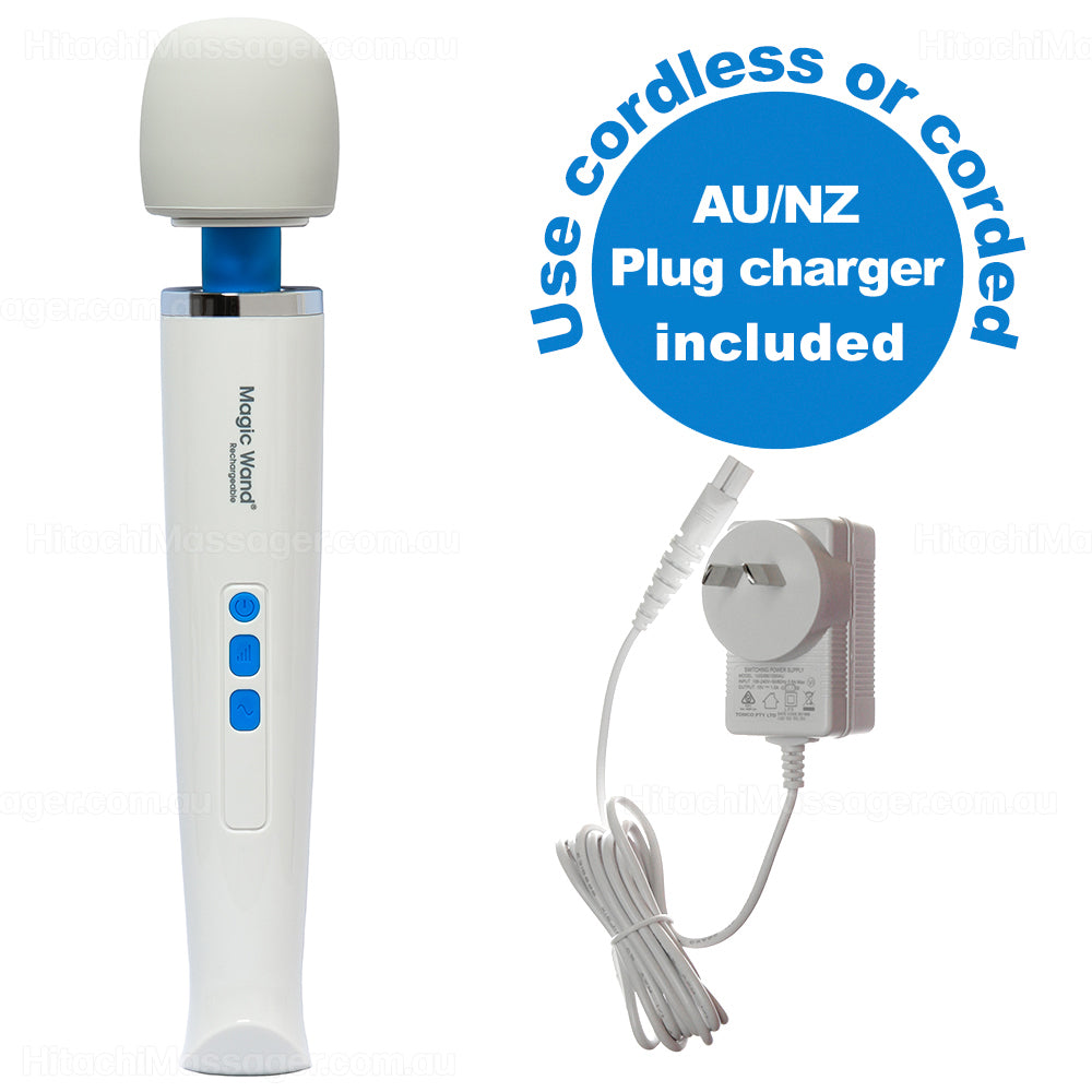 Main product picture with white background of the Hitachi Magic Wand Rechargeable personal massager with Australian and New Zealand 100~240 volt power charger.