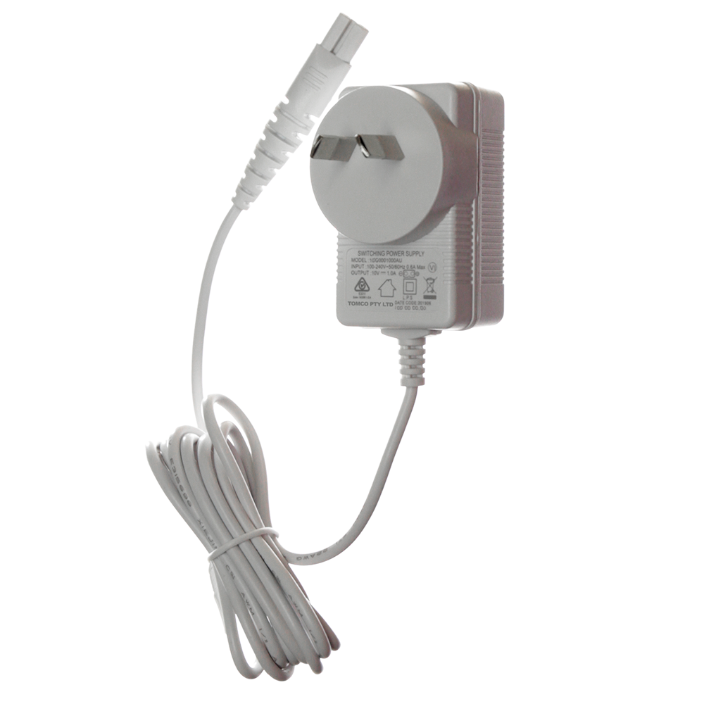 Product picture on white background of the Australian and New Zealand power plug charger that has been manufactured to be compatible to use with the Magic Wand Rechargeable HV-270 massager. This charger replaces the USA plug charger for Australian and New Zealand use of the massager.