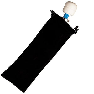 Product picture on white background of the Hitachi Magic Wand storage bag. This black cotton drawstring bag is for storing any one of the Hitachi personal massagers which are the Magic Wand Original, Magic Wand Rechargeable and Magic Wand Plus.