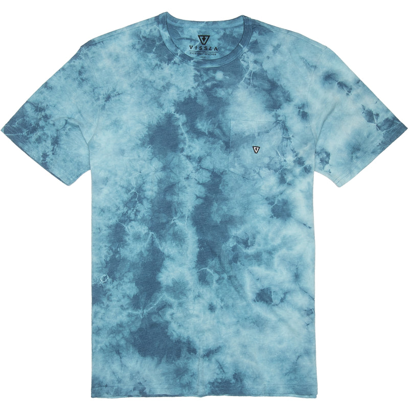 Calipher Embroidered Tie Dye Tee Blue Wash Heather