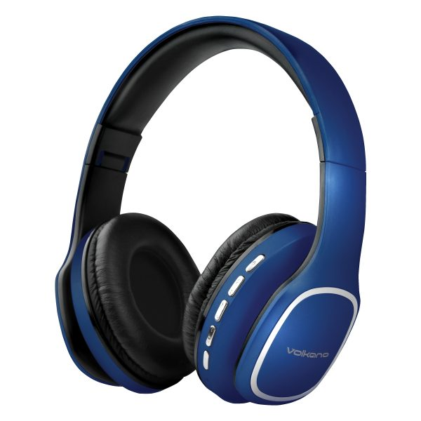 Volkano Phonic Series Bluetooth Full Size Headphone with Mic- Blue
