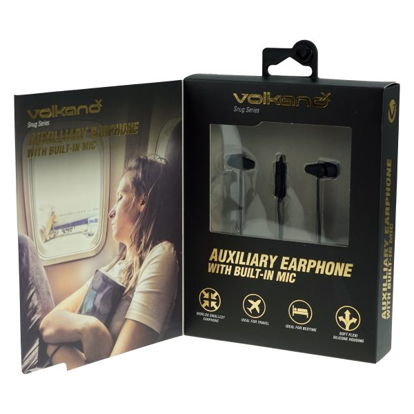 Snug Series Petite Auxilliary Earphones With Mic - Black