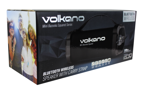 Volkano Mini Bazooka Squared Series Bt Speaker  Black- Bluetooth Speaker