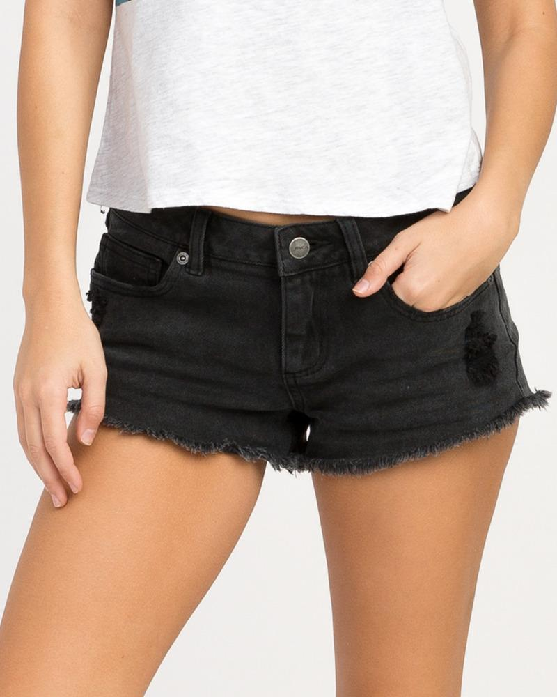 Hello Mellow Denim Cutoff Shorts Washed Black