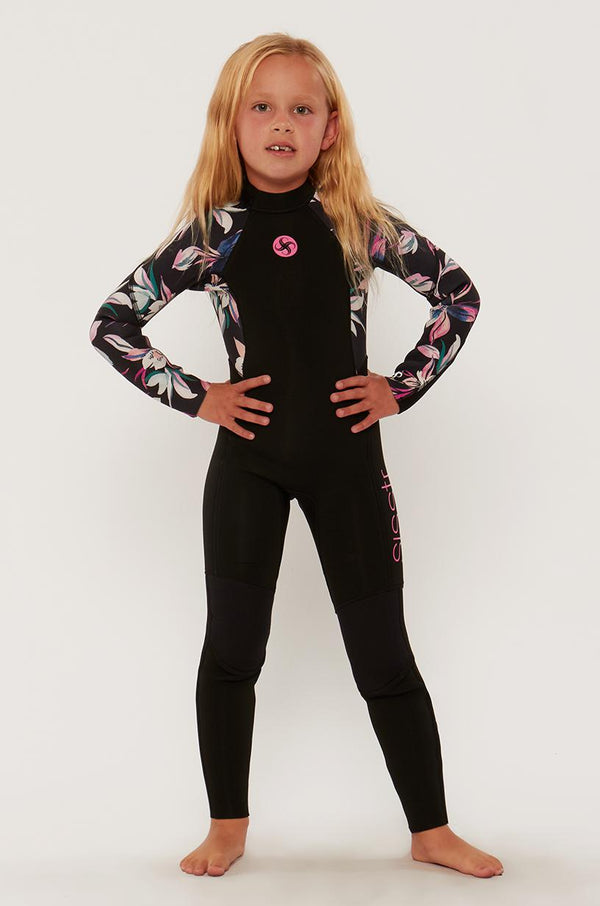 7 Seas 3/2 Girls Print Back Zip Full Suit