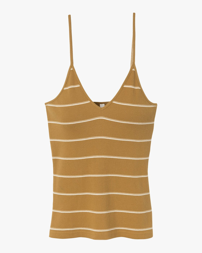 Tazed Striped Knit Tank Top Beeswax