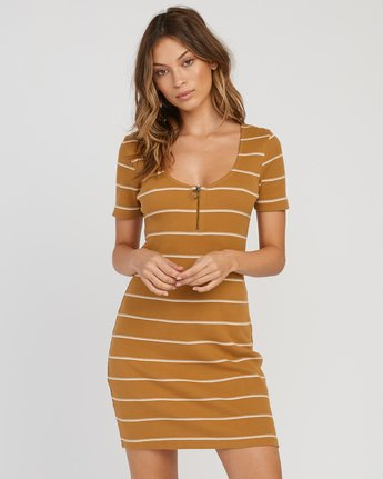 Donner Striped Knit Dress Beeswax