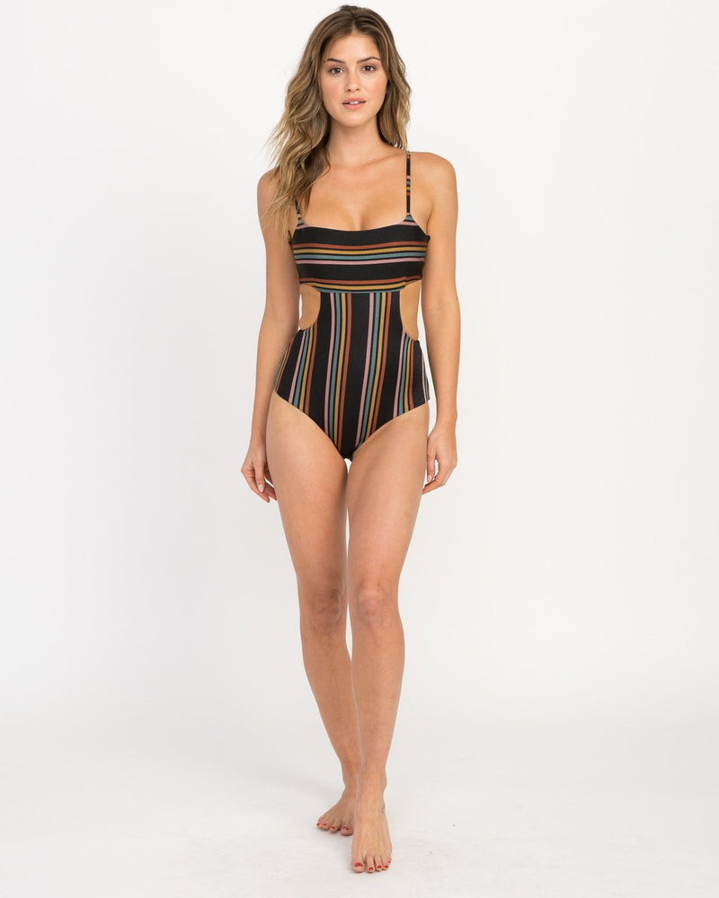Side Line Striped One Piece Swimsuit