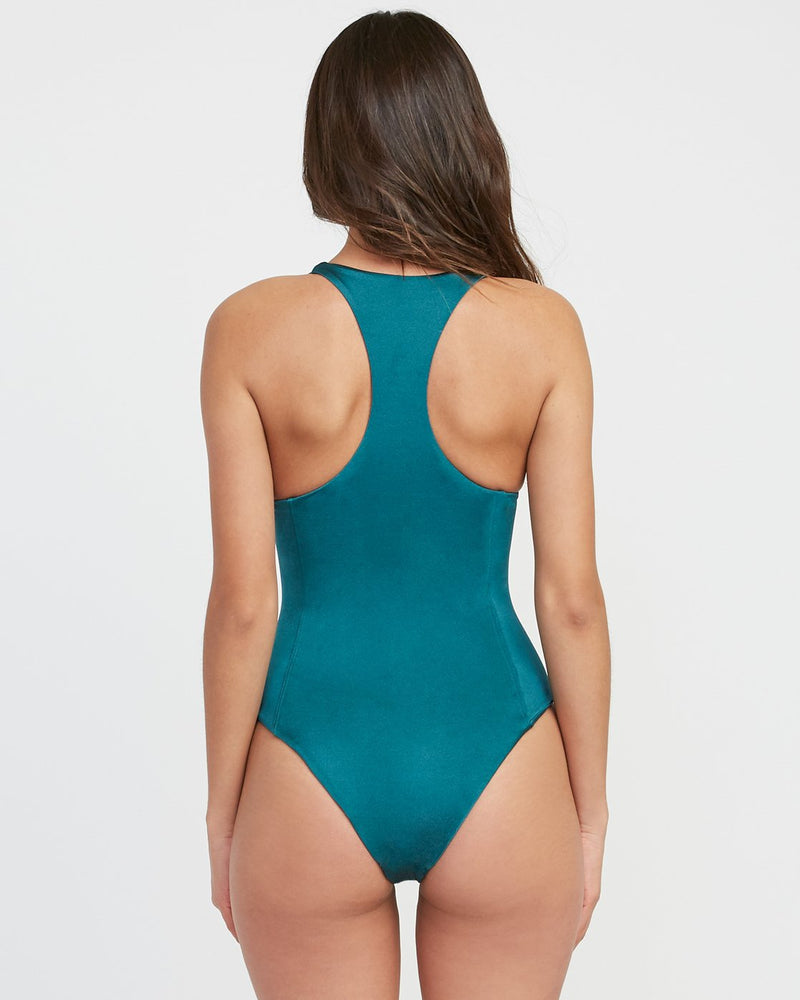 Solid Shimmer Lace-Up One Piece Swimsuit