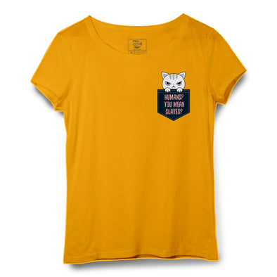 Angry Cat Pocket Printed Women Round Neck T-shirt - POPCON