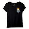 Cute Dog Pocket Printed Women Round Neck T-shirt - POPCON