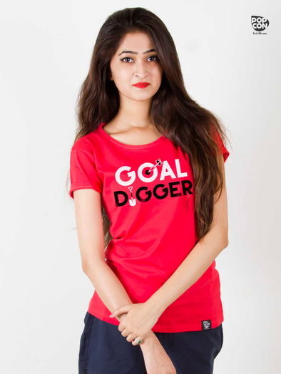 Goal Digger Printed Women Round Neck T-shirt - POPCON