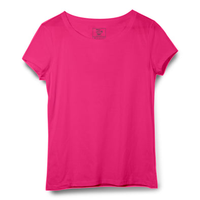 Pink Women Round Neck T-shirt