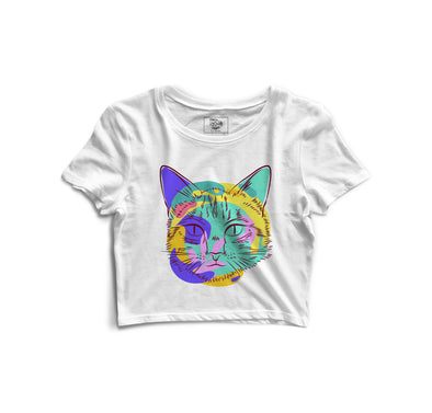 Cat Face Printed Crop Top - POPCON