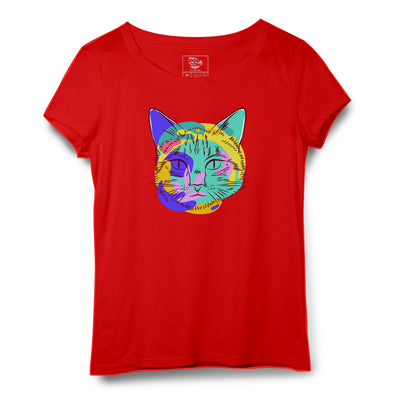 Cat Face Printed Women Round Neck T-shirt - POPCON