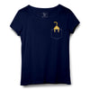 Cat Ass Pocket Printed Women Round Neck T-shirt - POPCON