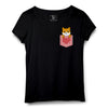 Dog with Heart Pocket Printed Women Round Neck T-shirt - POPCON