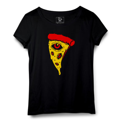 Eyes On The Pizza Printed Women Round Neck T-shirt