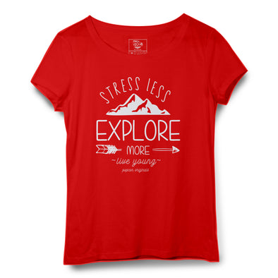 Stress Less Explore More Printed Women Round Neck T-shirt