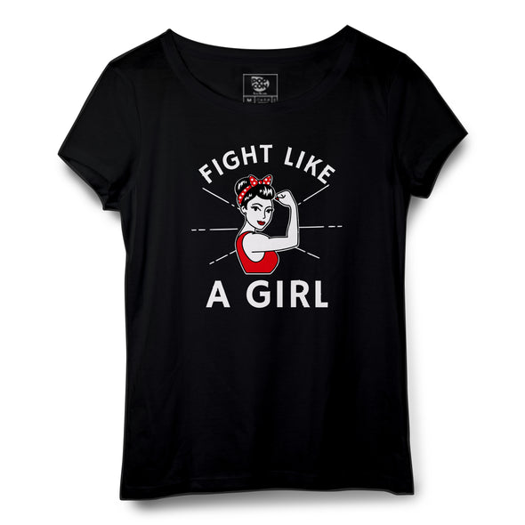 Fight Like A Girl Printed Women Round Neck T-shirt