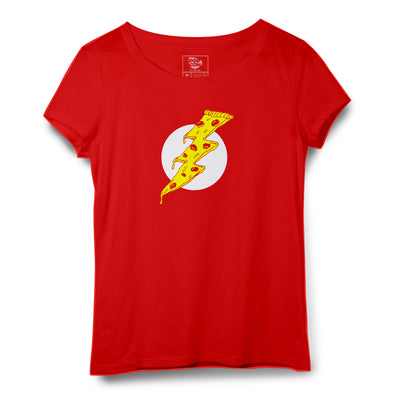 Pizza Flash Printed Women Round Neck T-shirt