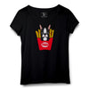 Puppy With Fries Printed Women Round Neck T-shirt