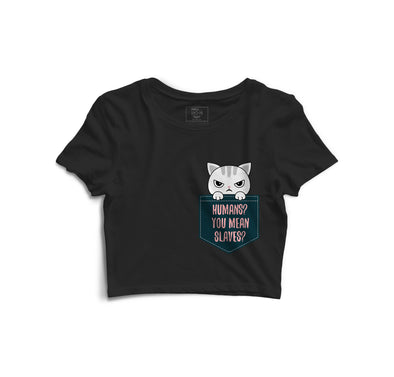 Angry Cat Printed Crop Top - POPCON