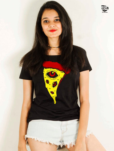Eyes On Pizza Printed Women Round Neck T-shirt - POPCON