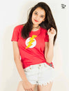 Pizza Flash Printed Women Round Neck T-shirt - POPCON