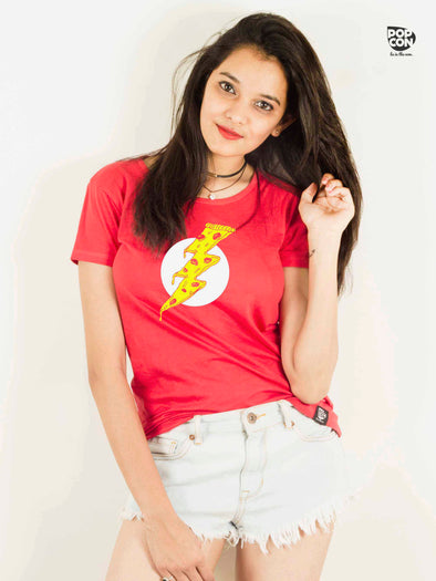 Pizza Flash Printed Round Neck t-shirt by POPCON