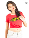 Attitude Printed Women Round Neck T-shirt