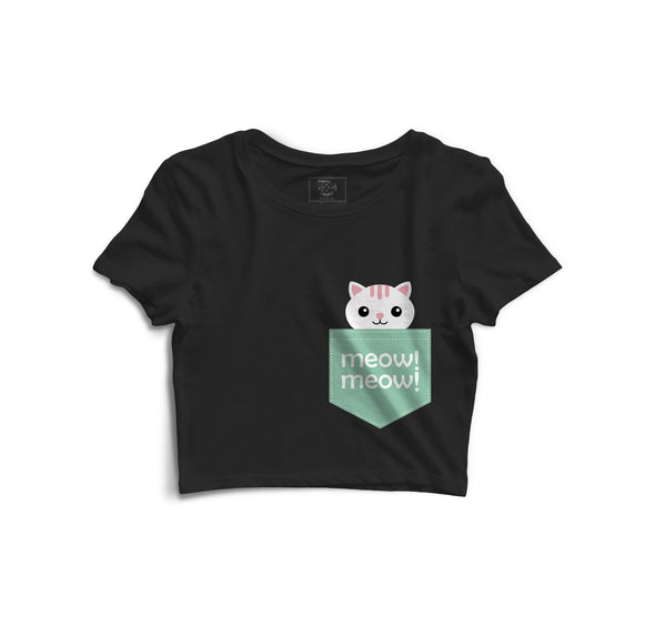 Meow Meow Printed Crop Top