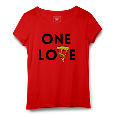 One Love Pizza Printed Women Round Neck T-shirt