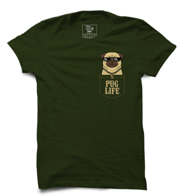 Pug Life Pocket Printed Half Sleeve T-shirt
