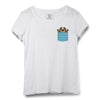 Puppies Pocket Printed Women Round Neck T-shirt