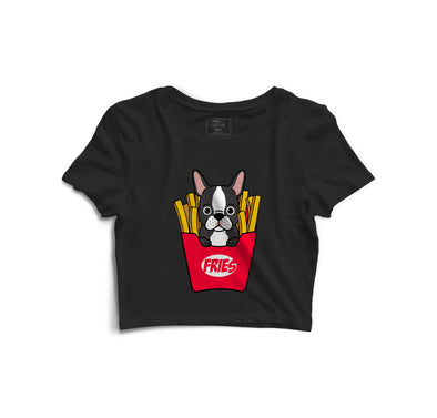 Puppy With Fries Printed Crop Top