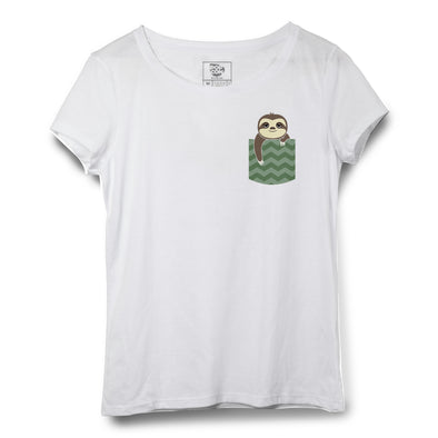 Sloth Pocket Printed Women Round Neck T-shirt
