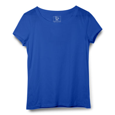 Blue Women Round Neck T-shirt