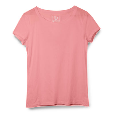 Peach Women Round Neck T-shirt